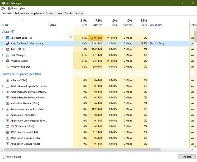 check GPU usage of every application