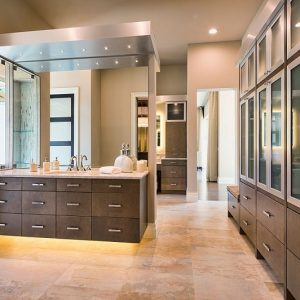 A beautiful custom, modern master bathroom.