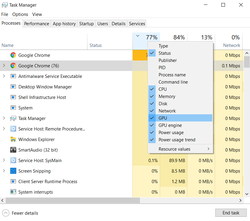 the GPU or GPU Engine option